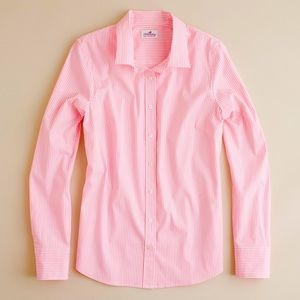 J. Crew Pink Classic Stripe Perfect Shirt